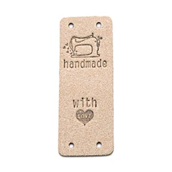 """Klappbar - Aufschrift """"handmade..."""" mit Nähmaschine auf puder2 (beige)"""