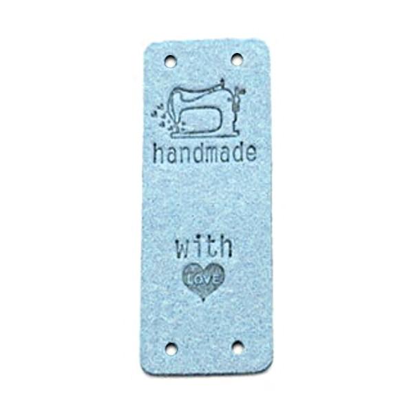 """Klappbar - Aufschrift """"handmade..."""" mit Nähmaschine auf hellblau"""