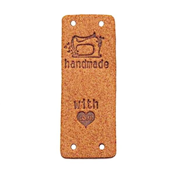 """Klappbar - Aufschrift """"handmade..."""" mit Nähmaschine auf braun"""