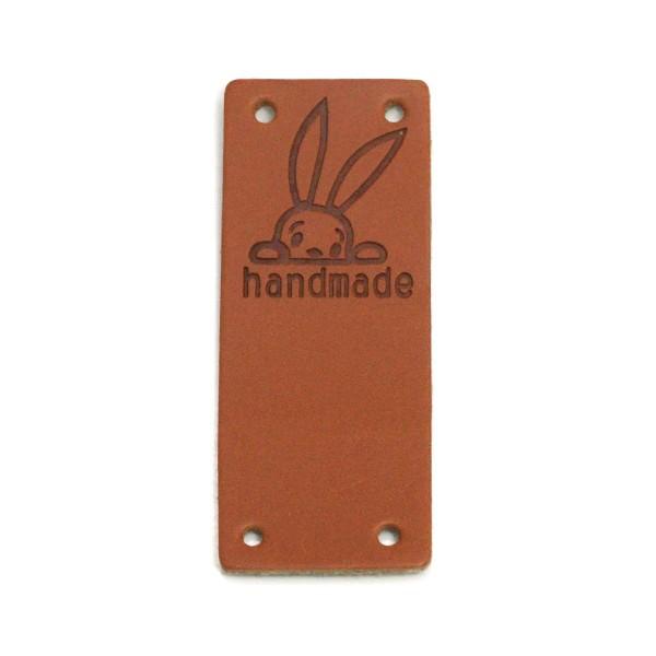 """Klappbar - Aufschrift """"handmade"""" mit Kaninchen auf braun glatt"""